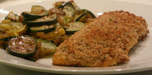 Baked Honey Mustard Salmon and Sauteed Zucchini